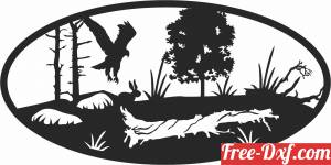 download eagle scene forest art free ready for cut