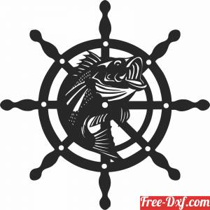 download rudder with fish wall sign free ready for cut