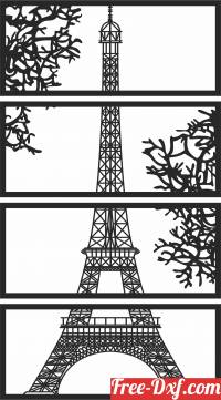 download Paris eiffel tower panels wall decor free ready for cut