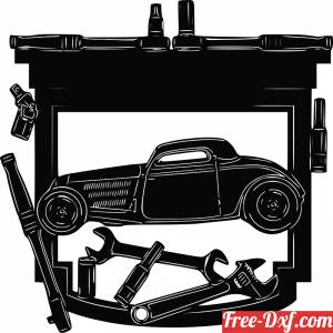 download Car Garage wall sign with tools free ready for cut