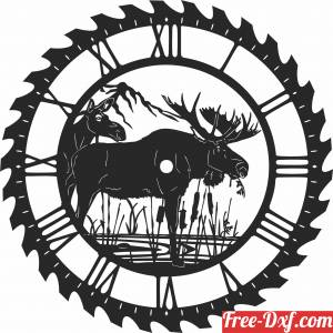 download moose sceen saw wall clock free ready for cut