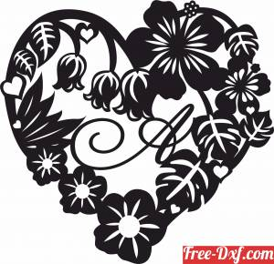 download floral heart love sign with letter monogram free ready for cut