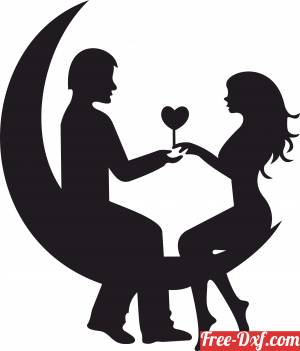 download Couple date love in moon sign gift for valentine free ready for cut