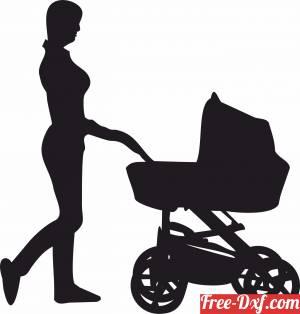 download Mum Pushing Pram stroller family silhouette free ready for cut