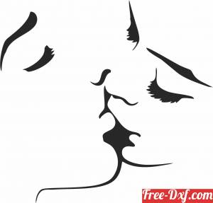 download Kissing couple wall decor free ready for cut