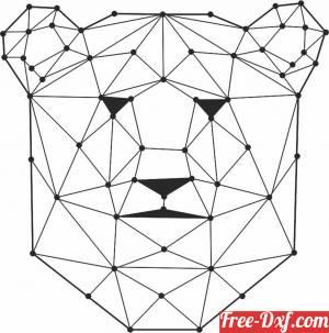 download Geometric Polygon Bear Head free ready for cut