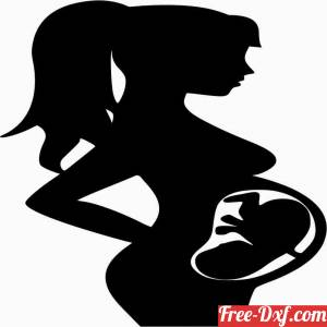 download pregnant women with baby in belly free ready for cut