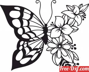 download butterfly floral wall art free ready for cut
