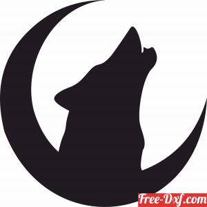 download Howling Wolf in moon free ready for cut
