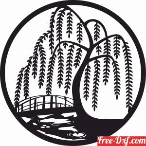 download scene with Willow tree river art free ready for cut