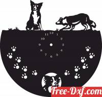 download Wall Dog Clock free ready for cut