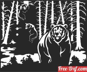 download Bear Scene Art Wall Decor free ready for cut