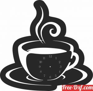 download coffee cup wall vinyl clock free ready for cut