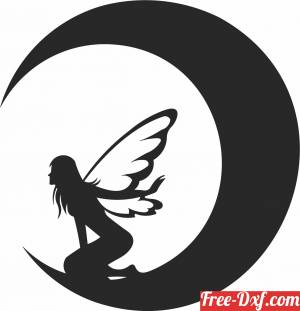 download Fairy on the moon art decors free ready for cut