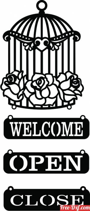 download Welcome Sign with Bird Cage open close sign free ready for cut
