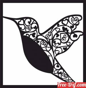 download hummingbird floral wall art free ready for cut