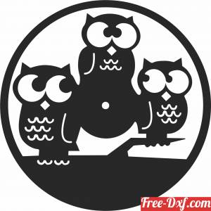 download owl Wall Clock Vinyl Record free ready for cut