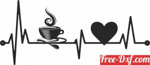 download Coffee heart beats Wall Decor free ready for cut