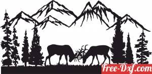 download deers buck forest scene art free ready for cut