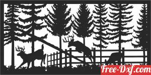 download deers forest scene wall decor free ready for cut