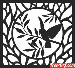 download birds on branche wall panel free ready for cut