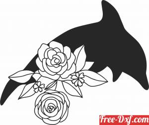 download Floral Dolphin fish clipart free ready for cut