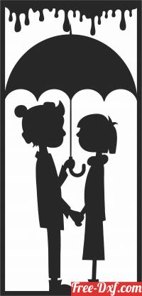 download Couple with umbrella wall decor free ready for cut