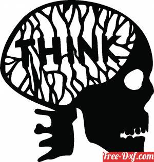 download skull with think word free ready for cut