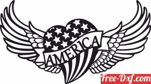 download heart with USA flag and wings free ready for cut