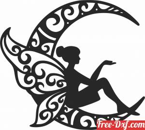 download Fairy on the moon wall decor free ready for cut