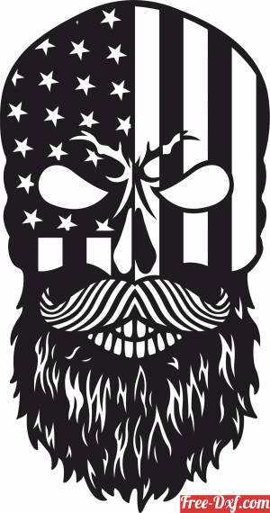 download Bearded Skull with USA flag free ready for cut