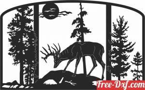 download deer scene forest art free ready for cut