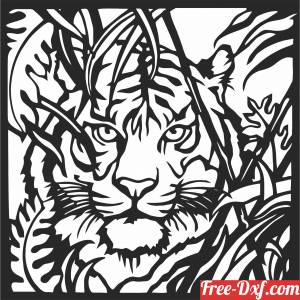 download hunting tiger scene art wall decor free ready for cut