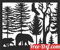 download bear scene forest art free ready for cut