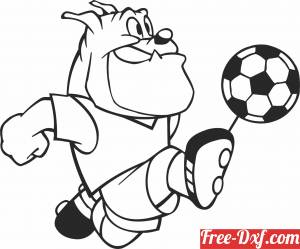 download Cartoon Dog Football soccer player free ready for cut