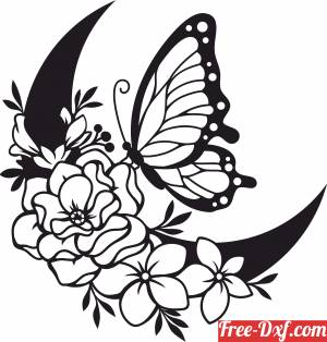 download butterfly floral clip art free ready for cut