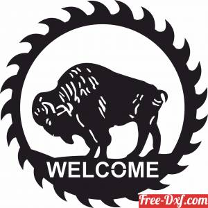 download Wild bull Welcome Plaque free ready for cut