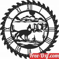 download wolf sceen saw wall clock free ready for cut