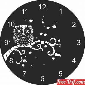download owl Wall Clock Vinyl free ready for cut
