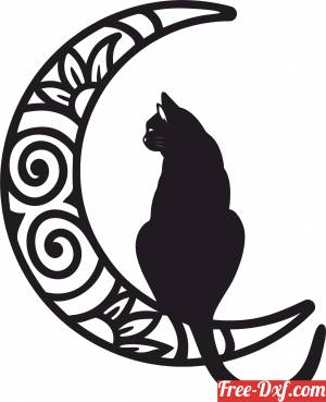 download Cat decorative on the moon clipart free ready for cut