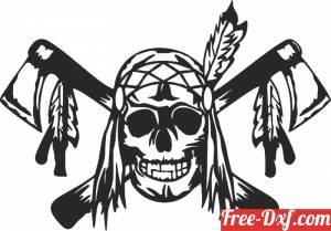 download skull pirate axe art free ready for cut