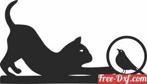 download cat with bird clipart free ready for cut