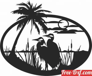 download Heron scene wall art free ready for cut