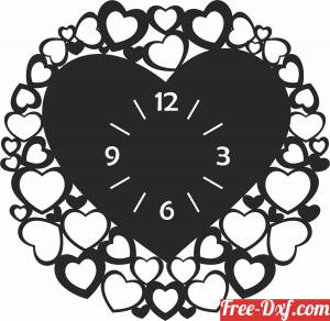 download heart Wall Clock Vinyl free ready for cut