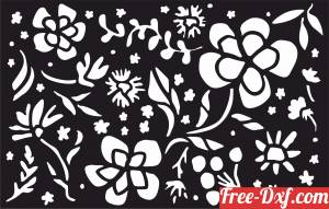 download Decorative floral wall screen pattern with flowers free ready for cut
