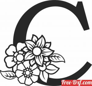 download Monogram Letter C with flowers free ready for cut
