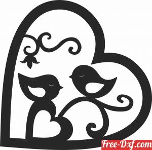download heart with birds free ready for cut