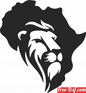 download African Lion wall decor free ready for cut