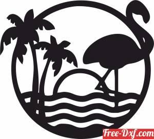 download flamingo rose beach scene free ready for cut