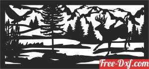 download deer forest scene wall decor free ready for cut